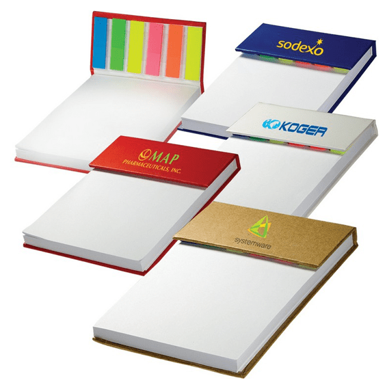 Custom Printed Logo Promotional Stick Notes Pads Seattle: Hard Cover Desk Pad