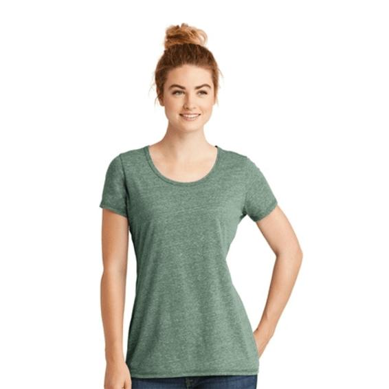 Custom Screen Printed Corporate Branded Promotional T-Shirt Seattle: New Era Ladies' Tri-Blend Scoop Neck