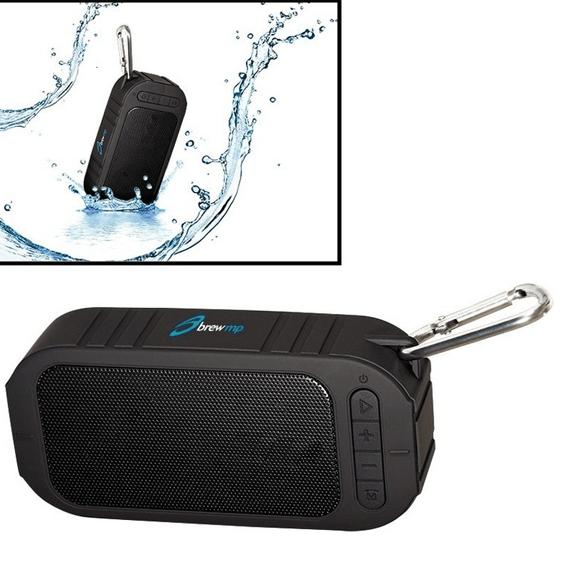 Custom Printed Corporate Logo Speaker Seattle: Water Resistant Wireless Bluetooth