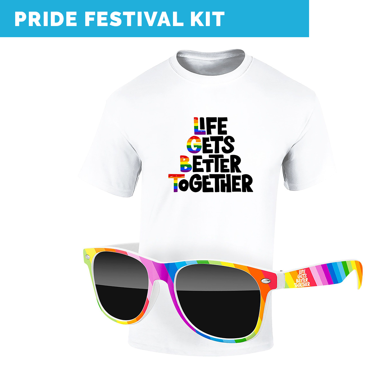 Work From Home Kits-virtual pride festival kit includes custom printable t-shirt and rainbow sunglasses