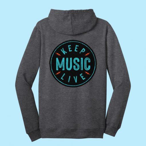 Unisex Keep Music Live Zip-Up Hoodie