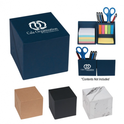 Office Onboarding Kits! Seattle Custom Screen Printing kits. Kits include desk organizer box , Color tabs, and colored sticky notes.