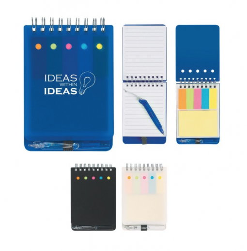 Jotter with Sticky Notes and Flags. Seattle screen printing. Custom brand this cool spiral bound jotter with sticky notes, color flags + pen